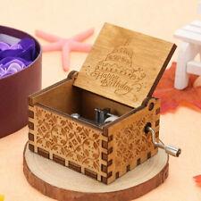 Happy Birthday Music Box Carved Wooden Handmade Hand Crank Toy Friends Kids Gift