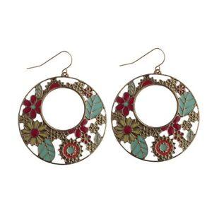 Cute New Bohemian Boho Gold Bronze Flower Hollow Round Disc Dangle Drop Earrings
