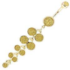 Belly Button Ring Bubbles Dangle-Style with Gold Sugar Dust Design 14g 3/8 …