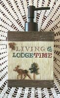 Bacova Soap Lotion Pump Dispenser LIVING ON LODGE TIME Cabin Bath Rustic New