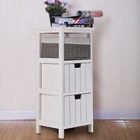 Storage Cabinet Wooden Bedside Unit Table with Wicker Basket Drawer Bathroom UK