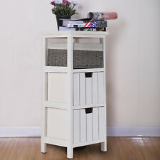 Storage Cabinet Wooden Bedside Unit Table with Wicker Basket Drawer Bathroom UK