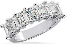 7 Classic Emerald cut Diamond Wedding Anniversary Band Platinum Vs1 2.22 tcw