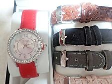 WOMAN'S BAY STUDIO  WATCH W/ 5 DIFFERENT COLOR BANDS NWT IN BOX