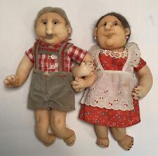 "Vintage Folk Art Grandparent Handmade Cloth 11""Dolls Rare Anatomically Correct"