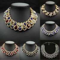 Fashion Pendant Chain Crystal Chunky Choker Bib Statement Necklace Jewelry