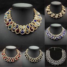 Fashion Pendant Chain Crystal Chunky Choker Bib Statement Necklace Jewelry