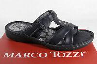 Marco Tozzi Mujer Sandalias Pantuflas Cuero Auténtico Azul Nuevo
