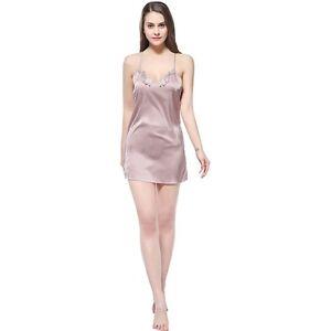 Fashion Solid Satin Chiffon Women Full Slip Ladies Nightgown Sleepshirt