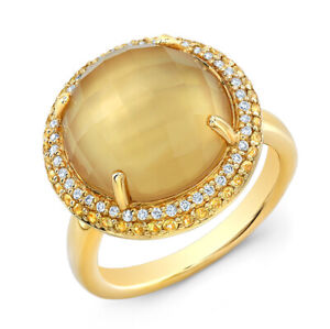 Citrine Mop Doublet Yellow Sapphire Diamond Ring 14k yellow Gold 9.77CT Natural