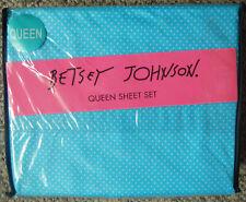 Nip Betsey Johnson Bj Dot Queen Sheet Set Turquoise Blue & White