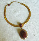 MIRIAM HASKELL SIGNED WIDE ETCHED CHAIN NECKLACE WITH HUGE DROP