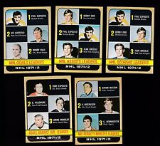 1972 - 73 Topps Hockey LOT of 5 NHL LEADERS Cards NM ESPOSITO ORR HULL Gump