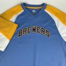 Milwaukee Brewers Majestic MLB Baseball Throwback Jersey Shirt Mens Size M NWT