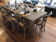 Ex-Display Dining Table & 8 Chairs Package Recycled Elm Hardwood 220cms Setting