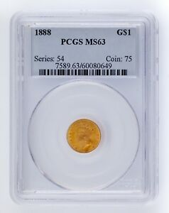 1888 G$1 Gold Indian Princess Graded by PCGS as MS63! Great US Gold Dollar!
