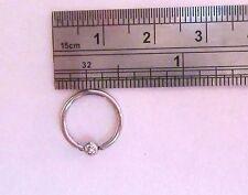 Surgical Steel CZ Clear Crystal Ball Daith Orbital Conch Hoop 16 gauge 16g