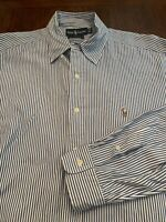 Mens RALPH LAUREN POLO Button Down Shirt White Blue Size 16 34  L