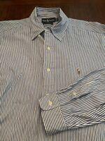 Mens RALPH LAUREN POLO Button Down Shirt White Blue Size 16 34  L