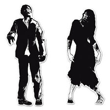 SCARY ZOMBIE HALLOWEEN LARGE SILHOUETTE PARTY DECORATION - 2 PACK