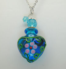 HEART CREMATION JEWELRY BLUE GLASS CREMATION URN NECKLACE MEMORIAL KEEPSAKE