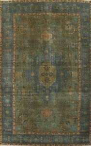 Antique Overdyed Geometric Traditional Oriental Area Rug Wool Hand-knotted 6x10