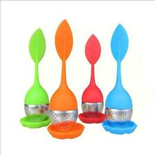 1Pcs New Random Color Silicone & Stainless Leaf Tea Strainer Teaspoon Infuser uf