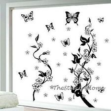 BUTTERFLIES VINE FLOWERS Wall Stickers Art Decal Wallpaper Removable Home Decor