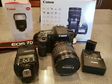 Canon EOS 7D 18.0 MP Digital SLR Camera Black EF- IS USM 28-135mm Kit w Flash
