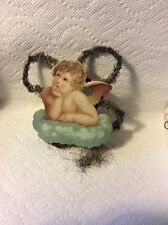 ANTIQUE GERMAN PAPER & TINSEL ANGEL ON ELBOW CHRISTMAS ORNAMENT