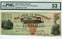 1862 Civil War $5 Mississippi Banknote About UNC Almost Uncirculated PMG AU 53