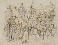 Robert von HAUG (*1857), Kriegertreffen, um 1900, Federzeichnung
