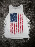 NWT ARIZONA GIRLS Sz LARGE TANK TOP 4TH JULY FRINGE PAITRIOTIC RED,WHITE & BLUE
