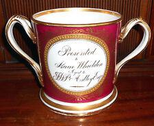 Large 1830-1850 English Hand Painted Porcelain Presentation Loving Cup Mug