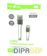 Cavo Usb TeKone 6A Dati Ricarica Piatto Per Apple Iphone 6 6s 1m Bianco hsb