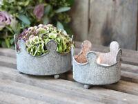 Chic Antique Schale Pflanzschale Krone 2er Set antik Kerzenständer Dekoschale