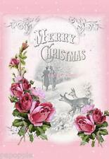 Fabric Block Chic Shabby Pink Roses Vintage Christmas Scene