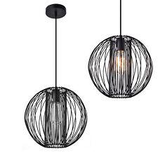 [lux.pro] Lampe à suspension métal noir plafonnier suspendue lumière design rond
