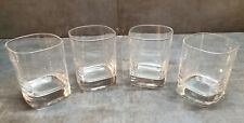 "Set of 4 Clear Glass Bourbon Whiskey Rocks Glasses Square Base 3"" x 4"" FREE SHIP"