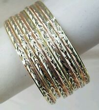 10K Yellow Gold 7 Days Bangles Semanario 2 1/2  inch, Size M, 4 mm, 3 color Gold