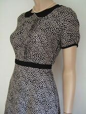 Vtg 40s WW2 style black & cream ditsy tea dress back ties peter pan collar UK 8