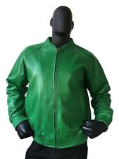 Jakewood Genuine Lambskin Leather Baseball Varsity Jacket Green 2XL