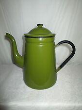 Dark Green Black Enamelware Coffee Pot
