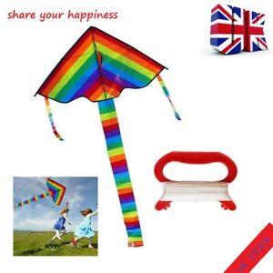 New Long Tail Rainbow Kite Outdoor Kites Flying Toys Kite For Children Kids UK