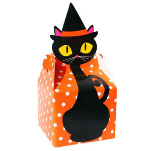 10Pcs Halloween Candy Gift Boxes Paper Bags Party Present Wrap Baking Cookie Box