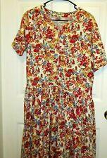 Flowered Dress Size Medium Vintage 80's Buttons Long Skirt Eddie Bauer Pockets