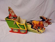 """Christmas Santa, Sleigh, Reindeer, Game Makers U.S.A., 12"""" Long Carboard Vintage"""