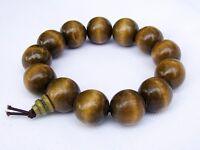 Men's WOODEN WRIST MALA BRACELET BUDDHIST MEDITATION HEALING 18mm beads