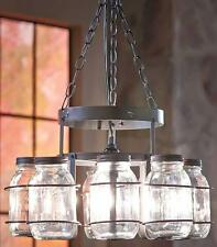 Rustic Farmhouse Hanging Wrought Iron Mason Jar Chandelier Light Lamp No Jars