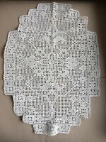 Vintage Crochet Mat Retro Art Deco Geometric Cream Hand Lace Table Centrepiece